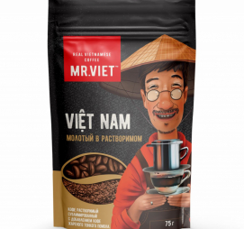 Кофе растворимый сублимированный MR.VIET ROBUSTA/ARABICA 75 гр  с добавлением натурального жареного молотого кофе